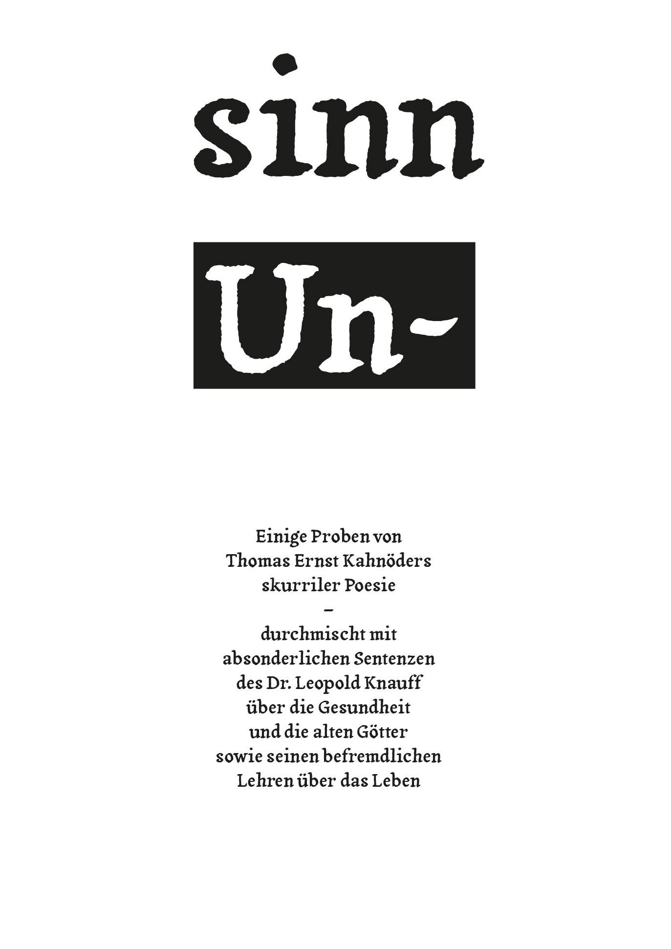 Günther F. Seelig: sinn Un- Cover: Floßmann